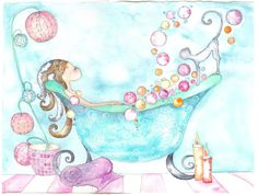Bubble Bath Print by Caragh11 on Etsy