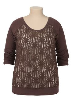 Open Knit Front Sweatshirt (original price, $39) available at #Maurices
