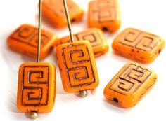 Rectangle Czech Beads, Greek Key, Opaque Orange and Black (8) - MayaHoneyBead