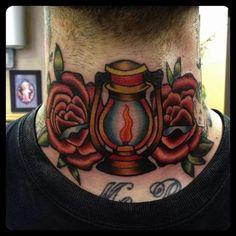 Got my throat done by Rich Warburton at Dermal Puncture Emporium, Staffordshire UK, sitting, loved every minuet Lamp Tattoo, Lantern Tattoo, Traditonal Tattoo, Tattoo Filler, Throat Tattoo, Crown Tattoo Design, Tattoo Templates, Worlds Best Tattoos, Love Tattoos
