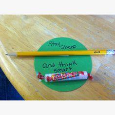 Stay sharp and think smart for testing treats Testing Treats For Students, Student Treats, Student Gifts, School Classroom, Classroom Activities, Classroom Ideas, Terra Nova, Staar Test, Test Prep