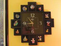 We used this clock, specially designed to hold photos, as a way to display our Disney Trading Pins.