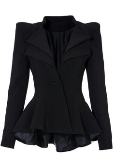 Ultra chic blazer featuring peplum hi lo hem and double lapel detailing. Button closure, fully lined.