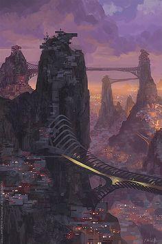 The Art Of Animation, Patrick Faulwetter - . Fantasy City, Fantasy Places, Sci Fi Fantasy, Fantasy World, Fantasy Island, Futuristic City, Futuristic Architecture, Cyberpunk City, Environment Concept Art