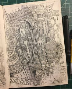 In this #architecture #sketch Sean Murray (@seanandrewmurray) shows us one of the glorious views from Tower City a district in Seans ever-diverse genre-branching world The Great City of Gateway.  From these dizzying heights among the towers upper walkways it is initially difficult to see where one building begins and another ends. However as you peer closer into the Escher-like labyrinth of stone and glass distinctive architectural styles and designs make themselves known to you.  According…