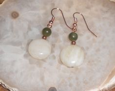 Handcrafted+Jade+and+Copper+Pierced+Earrings+by+TrendyCharm,+$8.00