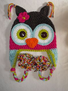 Isn't this the CUTEST owl hat you've ever seen?!! Just ordered one for Kinlee! owl hat crochet owl hat with pom poms by VioletandSassafras, $24.00