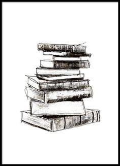 Black and white poster with old books. Poster with stack of books. Black and white posters online. Get black and white picture frames from us. Black And White Frames, White Picture Frames, Black And White Posters, Black And White Pictures, White Art, White White, Picture Wall, Posters Vintage, Images Vintage