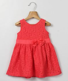 Another great find on #zulily! Coral Floral Lace Babydoll Dress - Infant & Toddler by Beebay #zulilyfinds