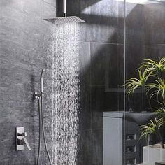 Sr Sun Rise 16 Inch Ceiling Mount Brushed Nickel Shower System Bathroom Luxury Rain Mixer Shower Combo Set Ceiling Rainfall Shower Head System Contain Shower F Shower Faucet Sets Bathroom Shower