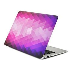 """Unik Case Gradient Ombre Triangular Galore Purple Light Beam Graphic Ultra Slim Light Weight Matte Rubberized Hard Case Cover for Macbook Air 13"""" 13-Inch Model: A1369 and A1466"""