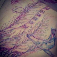 Sketch for tattoo, kelp forest, sea lion and garibaldi. Those flags though
