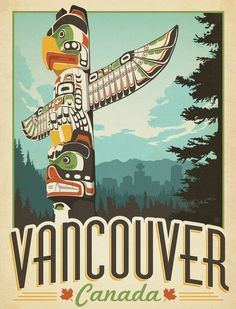 Vintage Vancouver travel poster by Joel Anderson