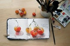 Watercolors by Maria Stezhko : Rainier cherries: