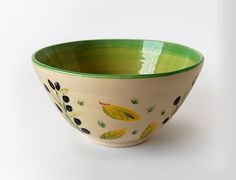 Pottery salad or fruit bowl with an olive motif by MadAboutPottery, $30.00