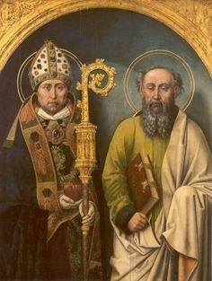 St. Augustinus van Hippo. - ca 1490. Paneel Meester van de Augustinuslegende. Duitsland, Aken, Suermondt-Ludwig-Museum Links: Augustinus Rechts: Apostel Paulus.