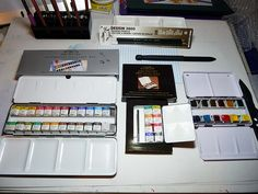 Winsor & Newton Lightweight Sketchers' boxes of 12 and 24  half pans and Bijou Box by betolung, via Flickr