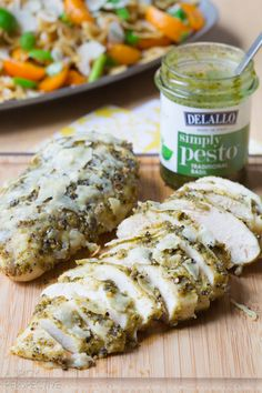 Easy Pesto Chicken for dinner. To save calories, I would ommit the Parmesan #dinner #chicken #pesto