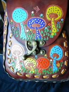 Vintage Retro Hippie Hand Tooled Leather Purse Bag Mushrooms Unique Brass Latch | eBay