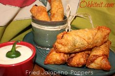 Fried Jalapeno Poppers, stuffed with cheese and rolled in a wonton wrapper
