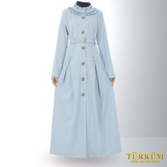 Created in a soothing, periwinkle blue, with brownish copper button lining the front side neatly, this abaya has an innocent, childlike appeal. Also blessed with a frilly collar, and a frilly half-belt, this purdah covers the hands fully. The look, all-in-all, is one of neat, impeccable class.
