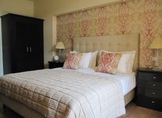 When it comes to wallpaper color combination that can convert your tiny bedroom into a bigger space, you should be looking at lighter shades of cream color, white and icy blue. These colors have a unique way of exuding positive optical illusions in your space. They also make the room feel more airy and open to a large extent.