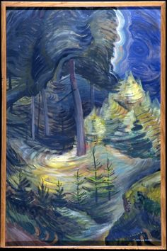 Emily Carr, B. Forest, Canadian Group of Seven Tom Thomson, Canadian Painters, Canadian Artists, Impressionist Paintings, Landscape Paintings, Emily Carr Paintings, Forest Art, Deep Forest, Group Of Seven