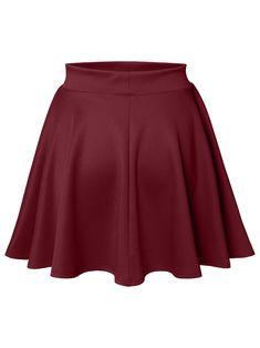 1bd4de8c92a Luna Flower Women s Basic Versatile Stretchy Flared Skater Skirt  DARK BURGUNDY XX-Large (LFWSK0009)