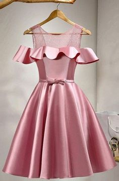 A-Line Knee-Length Cold Shoulder Pink Satin Homecoming Dress With Lace TR0178