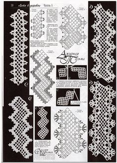 many thread work diagrams and clothing diagrams/yokes/Irish crochet at this Russian link Filet Crochet, Crochet Lace Edging, Crochet Borders, Crochet Diagram, Crochet Chart, Thread Crochet, Crochet Trim, Crochet Flowers, Crochet Stitches