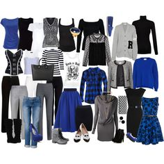 """Black Blue mix-up"" by arbwaggoner on Polyvore"