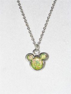 Very Cute Silver Tone Necklace with Green Micky Mouse Pendant NA20