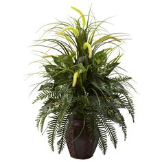 Mixed Greens and Cattails with Planter   Overstock.com Shopping - The Best Deals on Silk Plants