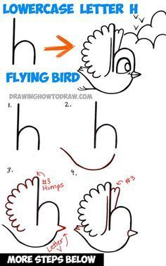 How to Draw a Flying Cartoon Bird from a Lowercase Letter h Shape Tutorial for Kids – How to Draw Step by Step Drawing Tutorials How to Draw a Flying Cartoon Bird from a Lowercase Letter h Shape – Easy Step by Step Drawing Tutorial for Kids Word Drawings, Art Drawings For Kids, Doodle Drawings, Drawing For Kids, Cartoon Drawings, Easy Drawings, Animal Drawings, Art For Kids, Drawing Lessons