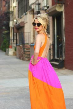 This outfit captures all of summer's best trends: color blocking, tangerine tango, and maxi dresses.