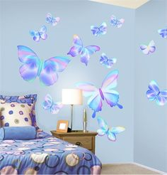 Rosenberry Rooms has everything imaginable for your child's room! Share the news and get $5 OFF your purchase!  Fluttering Butterfly Pre-Pasted Wall Mural in Summertime Blue #rosenberryrooms