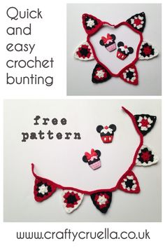 Quick and Easy Crochet Bunting ~ a free crochet pattern by Crafty Cruella