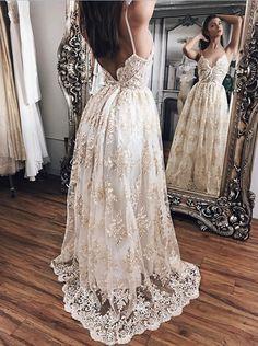 Princess Prom Dresses,Lace V-neck Prom Dress,Straps Long Evening Gowns,Women Dresses,Open Back Prom Dresses,Lace Prom Gown,V-neck Prom Dresses,P010