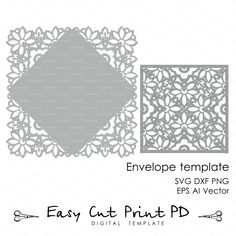 Wedding invitation Card Envelope Template Lace folds COVER ( svg dxf ai eps png) laser cutout die cut paper Digital Instant Download