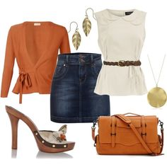 Outfit - white top/orange cover-up/ jean skirt/orange and gold accents