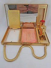 1940s Evans Gold Tone Ladies Carry-All Compact Vintage ~ No Reserve ~