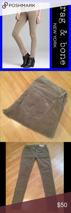 """RAG & BONE: Desert Khaki skinny corduroy - size 26 Rag & Bone skinny corduroys in desert khaki with a 30"""" inseam, 8"""" rise and 10.5"""" leg opening.. They measure 14.5"""" across the top of the waist when laying flat.. 73% cotton and 27% elastane.. EXCELLENT condition!! rag & bone Pants Skinny"""