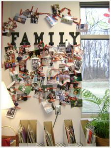 A display of photos/drawings/etc that represent all of our families...I like it!