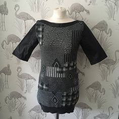 Vintage 80's black Leather Sweater Mini Dress, Retro geometric Knit design, Winter, Wide Neck, jumper Dress, Short, knitted, Short Sleeves by TheVintageFlea29 on Etsy