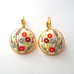 White  Embroidery Earrings Romantic Earrings by FairyFlowersJewels