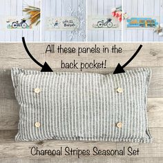 NEW SEASONAL BUNDLE SETS!  ***Choose any color or material in here***  (comes with foam insert and these 4 panels in back pocket) - CHARCOAL SET