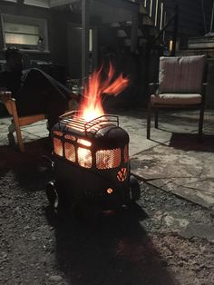 Greg McFarlane transformed a propane tank and random sheets of metal into a fire pit that looks like a Volkswagen Microbus.