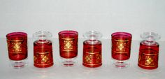 sale Red and gold glass cordials  set of 6  by capecodgypsy