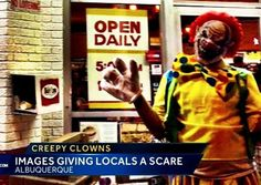 NOT FUNNY: As the darkness of the end times continues its rise, we are seeing stranger and stranger manifestations of evil not just here in America but across the globe. Oddly, people dressed as clowns, once a symbol of childhood fun and innocence, have been spotted doing all sorts of scary, freaky things. One thing is for sure, nobody's laughing at the clowns anymore. http://www.nowtheendbegins.com/scary-clowns-terrorizing-people-night-oddly-become-global-phenomenon/