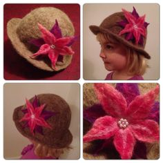Felted hat with felted flower.